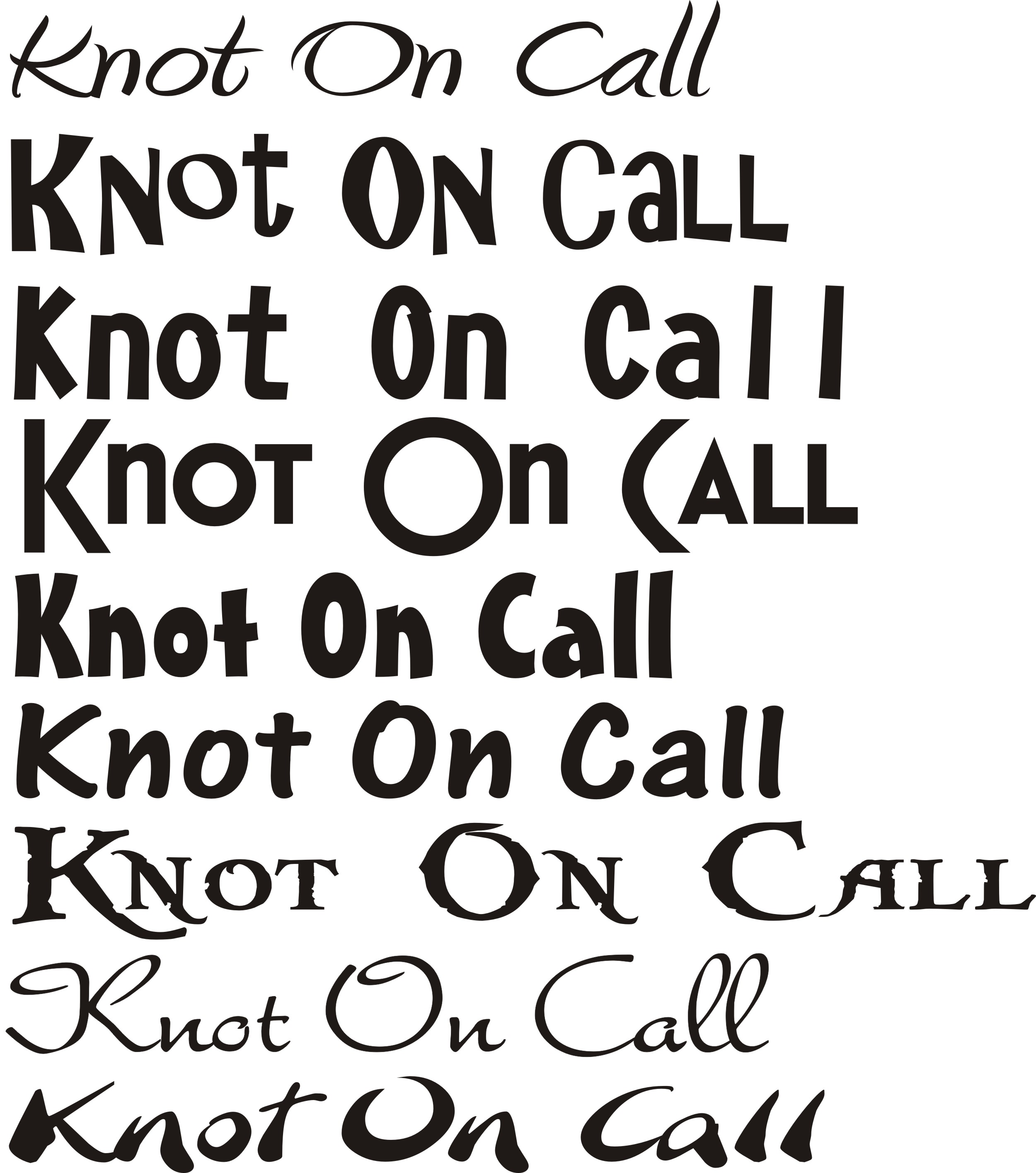 KNOT ON CALL Fonts