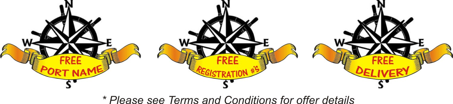 Free Port Name and registration numbers with order of a boat name!