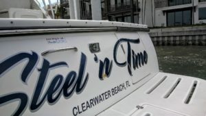 Boat Name Installed in Clearwater Beach, Florida