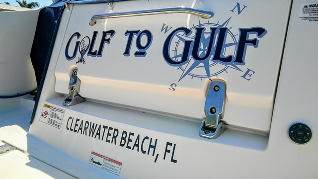 Golf to Gulf boat name in Clearwater Beach, Florida